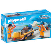 Playmobil flugzeugschlepper mit fluglotsen (5396)