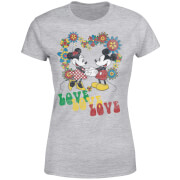 T-Shirt Femme Amour Hippie Mickey & Minnie Mouse (Disney) - Gris