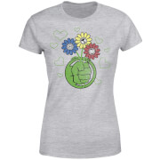 Marvel Avengers Hulk Flower Fist Frauen T-Shirt - Grau
