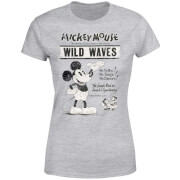 Disney Mickey Mouse Retro Poster Wild Waves Frauen T-Shirt - Grau