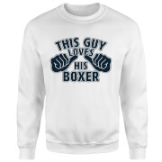 This Guy Loves His Boxer Pullover - Weiß