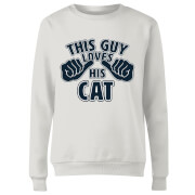 This Guy Loves His Cat Frauen Pullover - Weiß