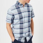 GANT Men's Blue Pack Madras Short Sleeve Shirt - Capri Blue