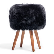 Royal Dream Black Sheepskin Stool
