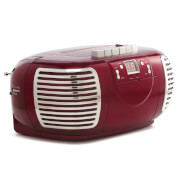GPO Retro PCD299 3-in-1 Portable CD, Radio and Cassette Player - Red