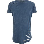 Brave Soul Men's Genko Acid Wash Distressed T-Shirt - Blue