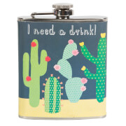 Sass & Belle Colourful Cactus 'I Need A Drink' Hipflask