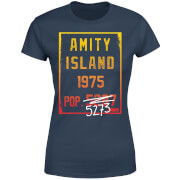 Jaws Amity Population Dames T-shirt - Navy