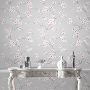 Fresco Grey/Pink Apple Blossom Floral Wallpaper