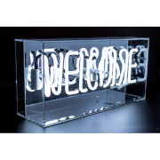Acrylic Box Neon Welcome - White