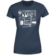 T-Shirt Femme Card Grid - Magic : The Gathering - Bleu Marine