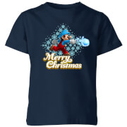 Nintendo Mario Merry Christmas Snowball Kinder T-Shirt - Navy Blau