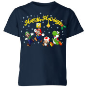 Nintendo Super Mario Good Guys Happy Holidays Kinder T-Shirt - Navy Blau