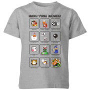 T-Shirt Enfant Know Your Enemies - Super Mario Nintendo - Gris