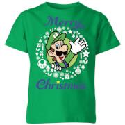 Nintendo Super Mario Luigi Merry Christmas Kids' T-Shirt - Kelly Green