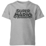 Nintendo Super Mario Distressed Logo T-Shirt Kinder T-Shirt - Grau