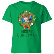 Nintendo The Legend Of ZeldaMerry Christmas Wreath Kinder T-Shirt - Grün