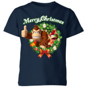 Nintendo Christmas Wreath Thumbs Up Kids' T-Shirt - Navy