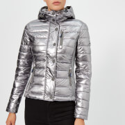 Superdry Women's Fuji Slim Double Zip Hood Coat - Silver Foil