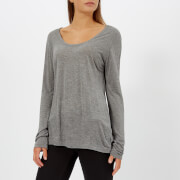 T by Alexander Wang Women's Drapey Jersey Long Sleeve T-Shirt with Darting Detail - Heather Grey