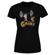 The Flintstones Distressed Bam Bam Gains Women's T-Shirt - Black