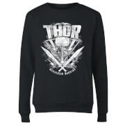 Marvel Thor Ragnarok Thor Hammer Logo Women's Sweatshirt - Black