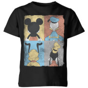 Disney Donald Duck Mickey Mouse Pluto Goofy Tiles Kids' T-Shirt - Black