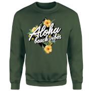 Aloha Beach Vibes Sweatshirt - Forest Green