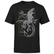 Harry Potter Dragon Line Art Herren T-Shirt - Schwarz