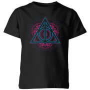 Harry Potter Neon Deathly Hallows Kinder T-Shirt - Schwarz