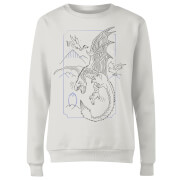 Harry Potter Dragon Line Art Dames Trui - Wit