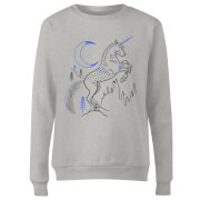Harry Potter Unicorn Line Art Women's Sweatshirt - Grey