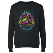 Sweat Femme Blason de Poudlard Néon - Harry Potter - Noir
