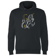 Harry Potter Unicorn Line Art Hoodie - Black