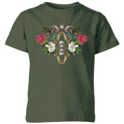 Natural History Museum Skulls And Flowers Kids' T-Shirt - Forest Green