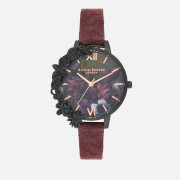 Olivia Burton Women's After Dark Floral Case Watch - Burgundy/Black