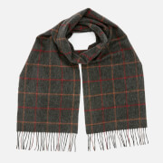 Barbour Men's Tattersall Lambswool Scarf - Charcoal/Red