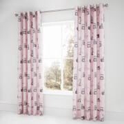 Catherine Lansfield Woodland Friends Eyelet Curtains - Pink