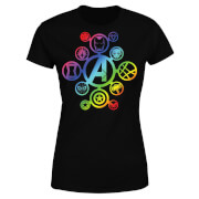 Avengers Rainbow Icon Damen T-Shirt - Schwarz