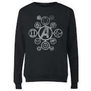 Avengers Distressed Metal Icon Women's Sweatshirt - Black
