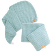 Aquis Dream Boat Blue Waffle Hair Turban + Dream Boat Blue Waffle Hair Towel Bundle (Worth £75)