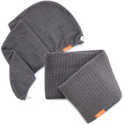 Aquis Moody Grey Waffle Hair Turban + Moody Grey Waffle Hair Towel Bundle (Worth £75)