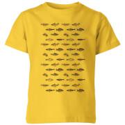 Fish In Geometric Pattern Kids' T-Shirt - Yellow