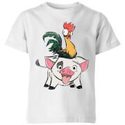 Moana Hei Hei And Pua Kids' T-Shirt - White