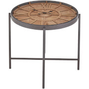 Premier Housewares Trinity Clock Side Table - Fir Wood/Iron