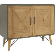 Premier Housewares Trinity 2 Door Cabinet - Fir Wood/Iron