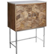 Fifty Five South Nirav Geometric Design Cabinet - Mango Wood/Marble
