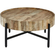 Fifty Five South Crest Coffee Table - Natural Wood with Black Legs