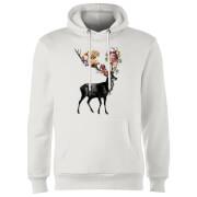 Spring Itself Deer Floral Hoodie - White