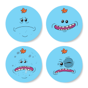 Rick and Morty Mr Meeseeks Face Coaster Set